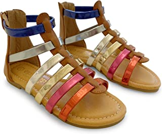 Epic Step Girl's Gladiator Sandals with Multi Colored Straps and Zipper Back