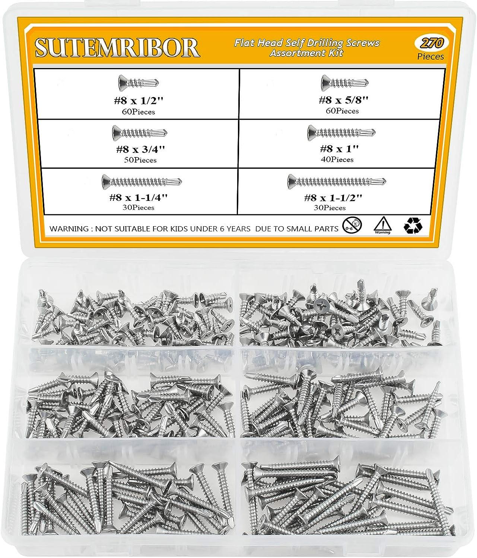 Sutemribor 410 Stainless Steel Self Drilling Screws Set ( 8 Flat Head)