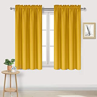 yellow window curtains