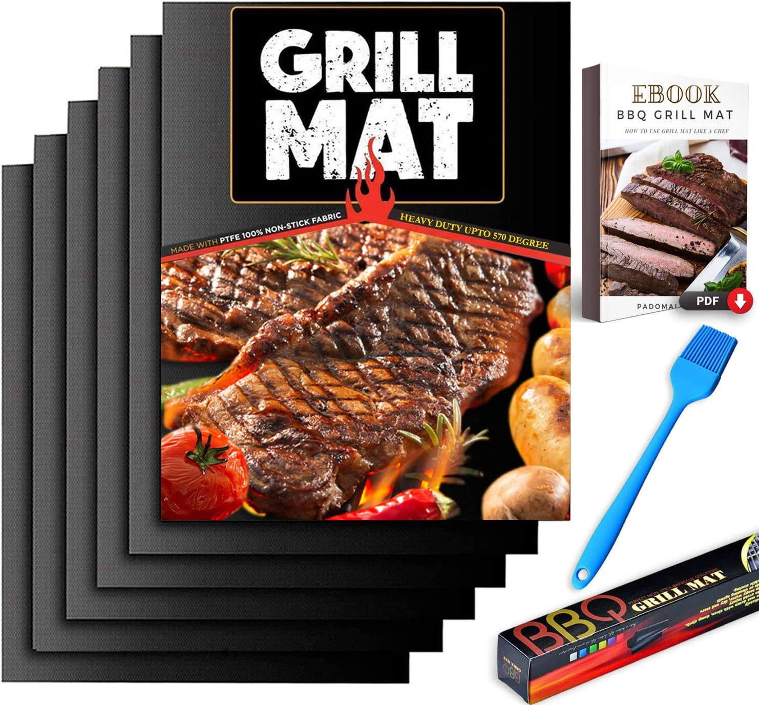 PADOMA BBQ Grill Mat Non Stick - Set of 6 Heavy Duty 570 Degree for Gas Grill & Charcoal Reusable, high Temperature, Easy to Clean, fire Resistant, Grill Mats for Outdoor Grill Accessories