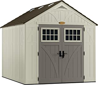 Suncast 8` x 10` Tremont Storage Shed - Outdoor Storage for Backyard Tools and Accessories - All-Weather Resin Material, Transom Windows and Shingle Style Roof