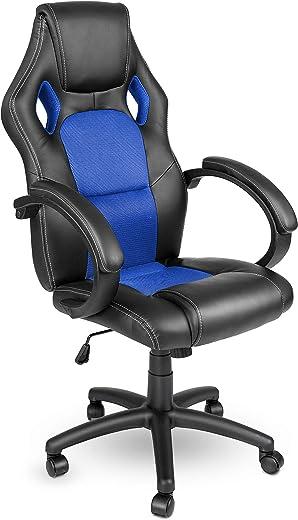 TRESKO Racing Chefsessel Bürostuhl Drehstuhl 14 Farbvarianten, gepolsterte Armlehnen, Wippmechanik, Lift SGS geprüft (schwarz/blau)