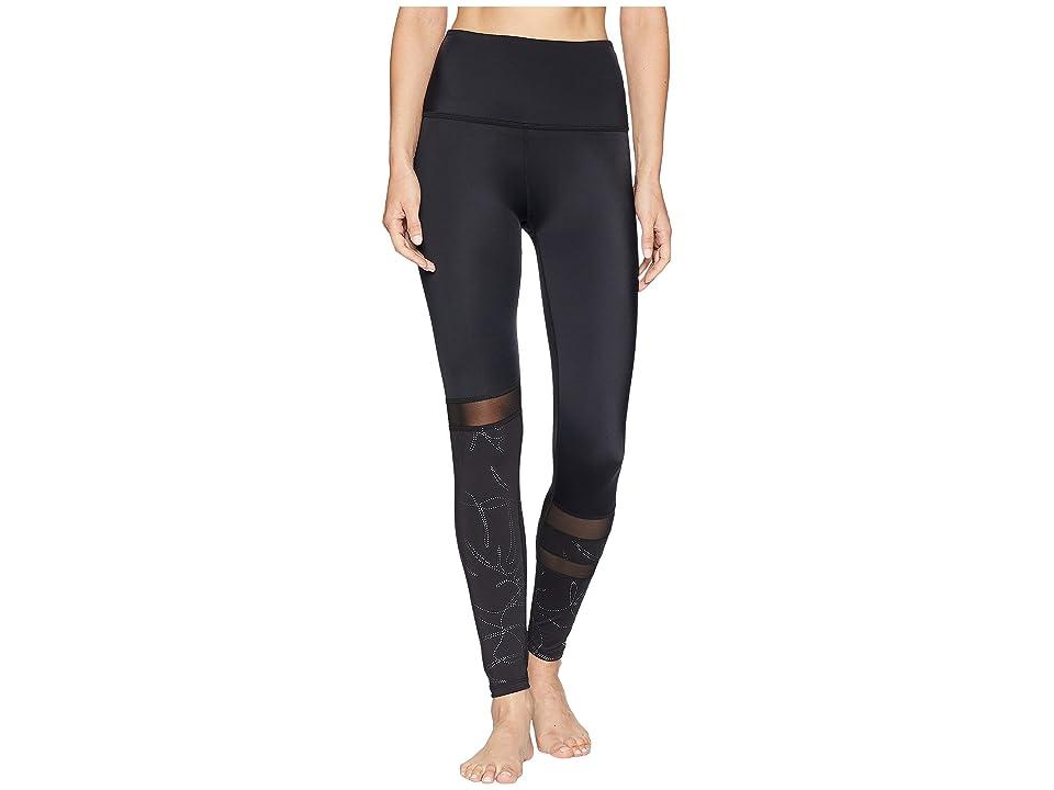 Beyond Yoga Flashback Paneled High-Waisted Midi Leggings (Monstera Leaf Silver/Black) Women