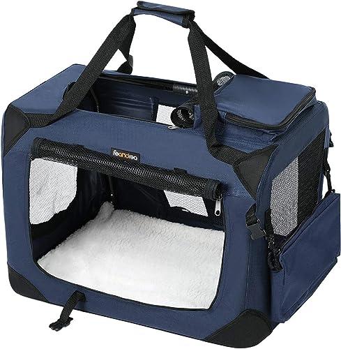 FEANDREA Sac de Transport pour Chien, Caisse Pliable pour Chien Bleu 70 x 52 x 52 cm PDC70Z