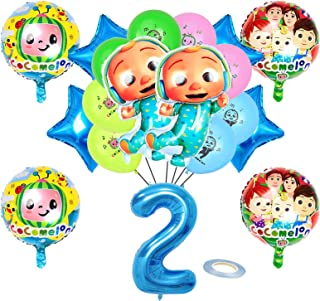 19 Pcs Kids Party Balloons Birthday Party Supplies, Aluminum Foil Balloons, 2 Years Old Party Decorations, 2 Years Old Bir...