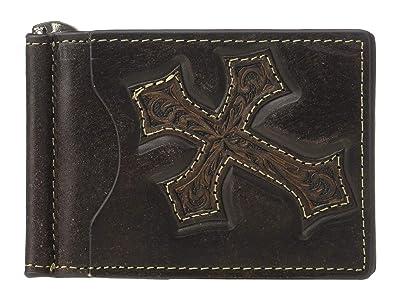 M&F Western Nocona Distressed Cross Money Clip (Medium Brown) Wallet