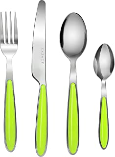 Exzact 24PCS Flatware Set Colored - Stainless Steel Silverware/Cutlery With Color Handles - 6 x Forks, 6 x Dinner Knives, 6 x Dinner Spoons, 6 x Teaspoons (Green x 24)