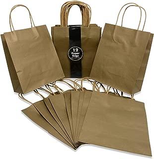 Medium Size Paper Gift Bags with Handles (7.75x4.25x9.75 Inches), Metallic Gold, 2 Dozen