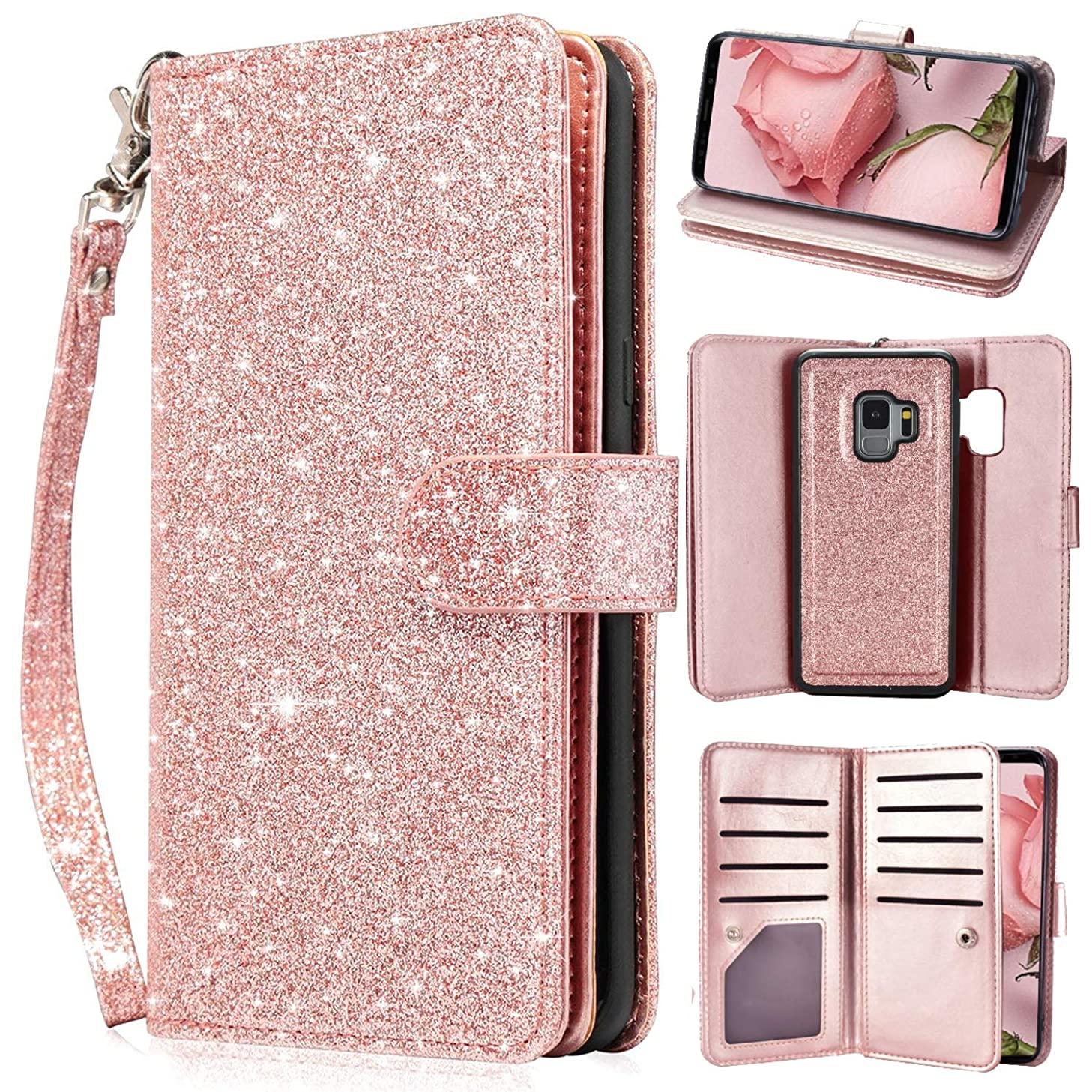 Newseego Galaxy S9 Leather Case,Glitter Shiny Faux PU Leather Magnetic Closure Multi-CreditCard Slot Cash Holder Protective Case Detachable 2 in 1 Wallet Cover with Wrist Strap-Rose Gold