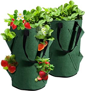 WOHOUS Strawberry Grow Bags, 2 Pack Hanging Non-Woven Fabric Gardens Strawberry Planting Growing Bag with 6 Holes, Strawberry Plant Grow Bags for Garden Strawberries, Herbs, Flowers (8.6x15inch)