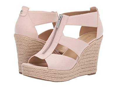 MICHAEL Michael Kors Damita Wedge (Soft Pink Small Weave Canvas/Jute) Women