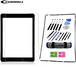 SUNMALL Screen Assembly Repair Replacement Kit Digitizer Touch Screen Replacement Kit, Compatible Ipad Model A1395 A1396 A1397 Ipad 2 Screen Protector/Frame Bezel+Tools/Adhesive Sticker