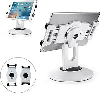 "AboveTEK Retail Kiosk iPad Stand, 360° Rotating Commercial Tablet Stand, 6-13.5"" iPad Mini Pro Business Tablet Holder, Swivel Design for Store POS Office Showcase Reception Kitchen Desktop (White)"