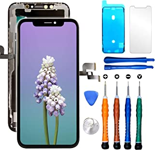 Compatible with iPhone X LCD Screen Replacement 5.8 Inch (Model A1865 A1901 A1902) Touch Screen Display digitizer Repair kit Assembly with Complete Repair Tools and Screen Protector