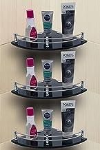 U-S-F BATH ACCESSORIES Glass Corner Shelf Bathroom Shelf and Kitchen Shelf Bathroom Accessories - 9 X 9 Inches -Black -Rou...