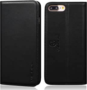 VISOUL iPhone 8 Plus / 7 Plus Leather Folio Case Wallet for Women and Men, Genuine Leather Magnetic Phone Protective Cover with Card Holder and Stand for iPhone 8+/7+ (5.5-inch) (Black)