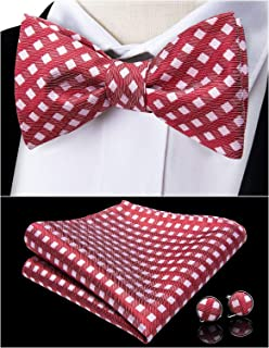 DiBanGu Self-tie Bow Tie and Pocket Square For Men Tie and Cuff links Gift Set Silk Bow Tie Formal