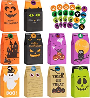 Halloween Treats Bags Party Favors - 50 Pcs Kids Halloween Candy Bags for Trick or Treating + 60 Pcs Halloween Stickers, M...