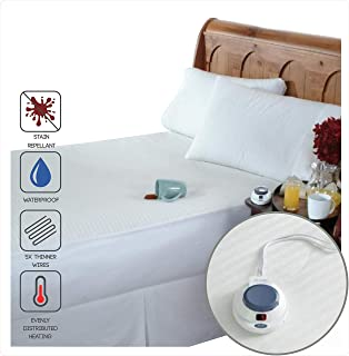 Perfect Fit SoftHeat Smart Heated Electric Waterproof and Stain Repellant Mattress Pad with Safe & Warm Low Voltage Technology (Queen)