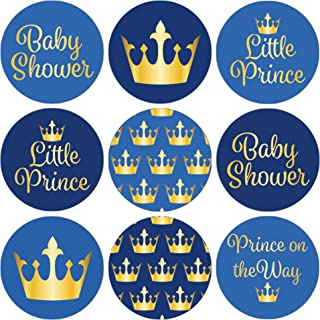 DISTINCTIVS Little Prince Royal Baby Shower Favor Stickers - 180 Count