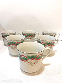 Set of 6 Vintage Sango NOEL Porcelain Christmas Holly Bells Holiday Coffee Tea Cups