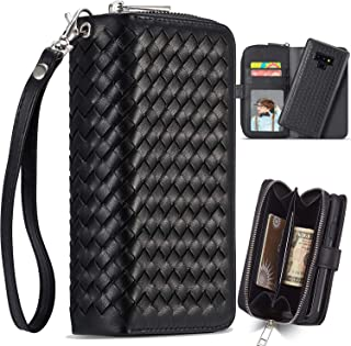 Galaxy Note 9 Case, Note 9 Zipper Wallet Case, XRPow Woven Pattern PU Leather Purse Protective Magnetic Detachable Folio Flip Carrying Case with Card Holder for Samsung Galaxy Note 9 - Black