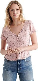 Lucky Brand Women's Short Sleeve V-Neck Pointelle Henley Top Henley Shirt