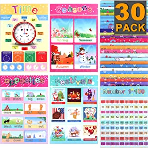 30 Pack XPCARE Educational Preschool Poster for Toddler and Child with Glue Point Dot for Holiday Gift Home Kindergarten Classroom Alphabet Colors Map and More ( English, 15.7 x 11 Inch)