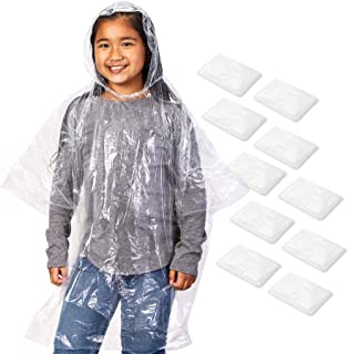 Juvale 10 Pack Kids Disposable Rain Ponchos with Ball, Child Emergency Waterproof Raincoat with Hood for Boys and Girls, C...