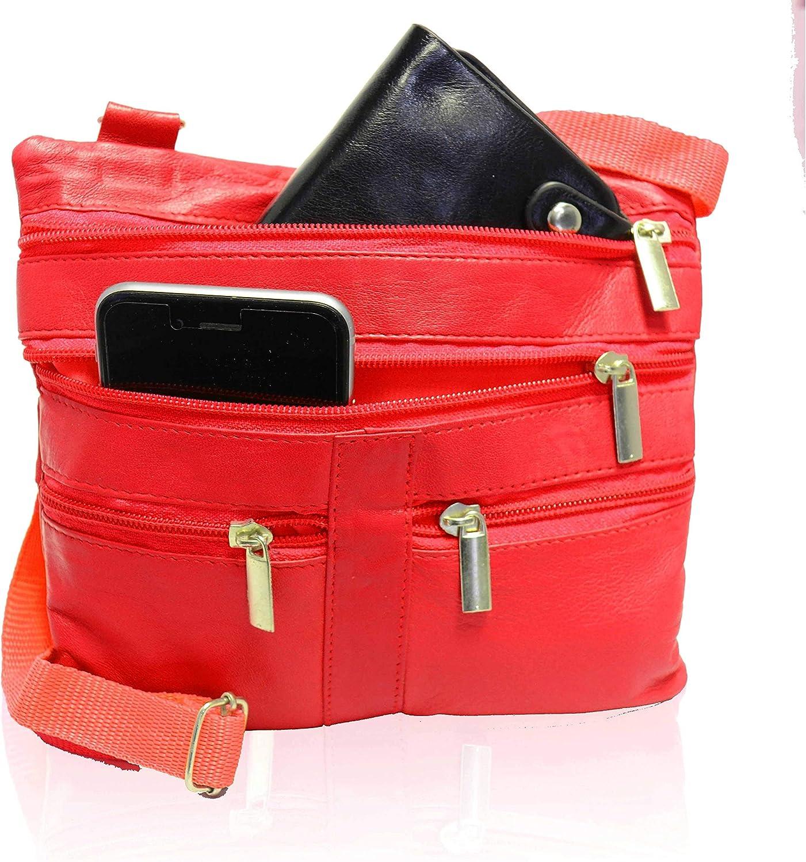 AFONiE Fashion Genuine Leather Crossbody Handbag Red
