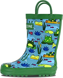 8d6ed78be1b43 LONECONE Rain Boots with Easy-On Handles in Fun Patterns for Toddlers and  Kids