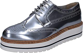 TRIVER FLIGHT Oxfords Womens Leather Silver