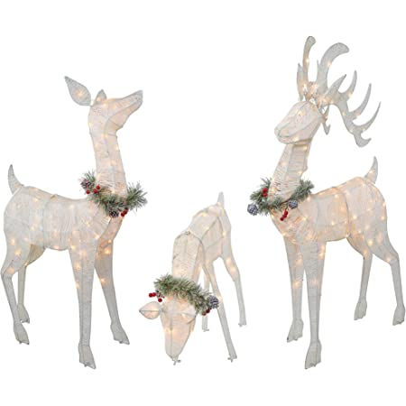 Bloomingville white deer in glass bell with led christmas decoration table