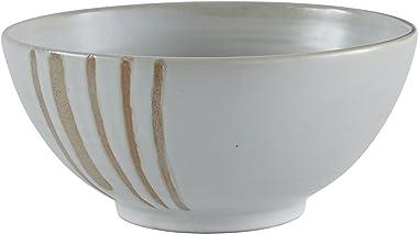 Amazon Brand – Stone & Beam Modern Stoneware Decorative Bowl Decor, 4.9 Inch Height, Beige
