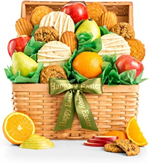 """GiftTree Fresh Fruit and Gourmet Cookies Easter Gift Basket   Premium Fresh Pears, Apples with Fresh Cookies   Includes a""""Happy Easter"""" Ribbon"""