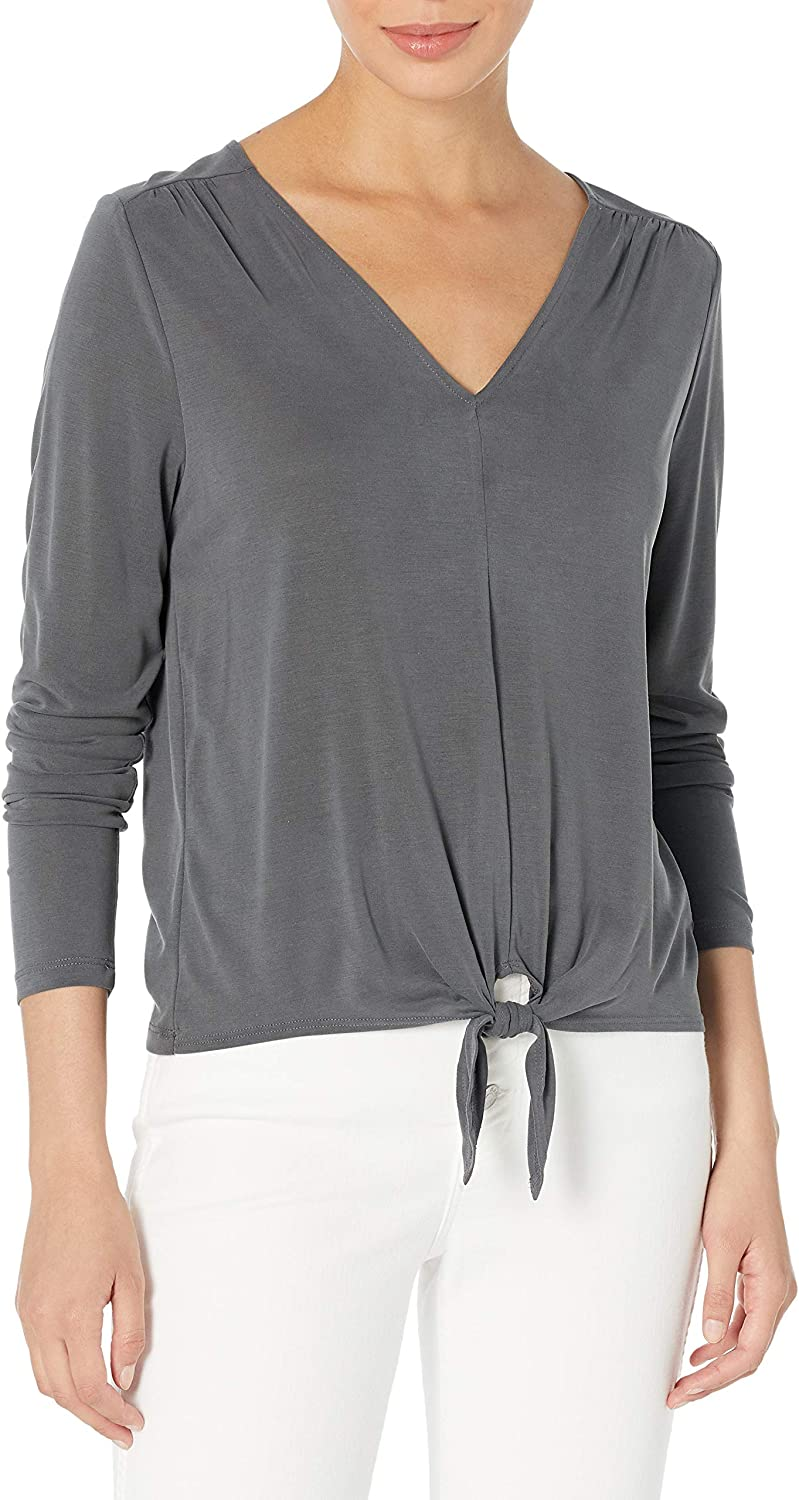 Lucky Brand Women's Long Sleeve Top Neck Front V All stores are sold Tie Latest item