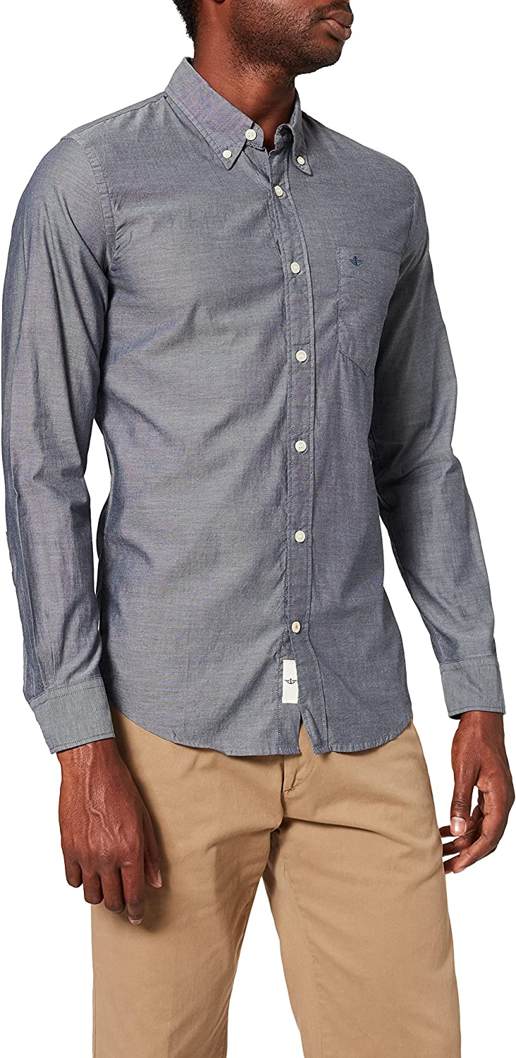 Dockers WEATHERED OXFORD SHIRT - LS, Camisa Hombre, Azul ...