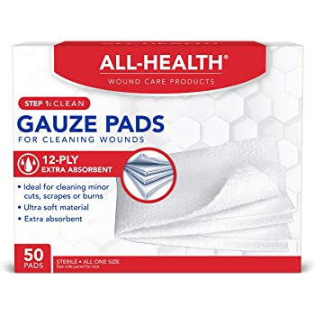 All Health Gauze Pads, 50 Pads, 3 X 3   for Cleaning or Covering Wounds as Wound Dressing, Helps Prevent Infection