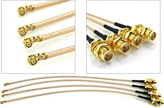 Pack of 4 RF U.FL(IPEX/IPX) Mini PCI to RP-SMA Female Pigtail Antenna Wi-Fi Coaxial RG-178 Low Loss Cable (12 inches (30 cm))