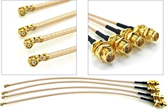 GP Electric Pack of 4 RF U.FL(IPEX/IPX) Mini PCI to RP-SMA Female Pigtail Antenna Wi-Fi Coaxial RG-178 Low Loss Cable (4 inches (10 cm))