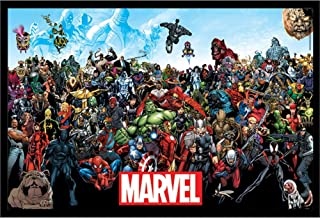 Marvel Superhero Movie Characters Wall Art Decor Framed Print   24x36 Premium (Canvas/Painting Like) Textured Poster   Avengers & Villains Merchandise & Posters   Comic Gifts for Guys & Girls Bedroom