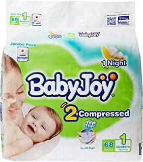 Babyjoy 2x Compressed Diaper, Jumbo Pack New Born Size 1, Count 68, Up to 4 Kg