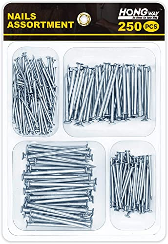 2021 HongWay Hardware Nails Assortment Kit 250pcs, Common Nails, Finish Nails, 2021 Galvanized Nails, Smooth Shank for General Use, 4 outlet sale Size Assortment outlet online sale