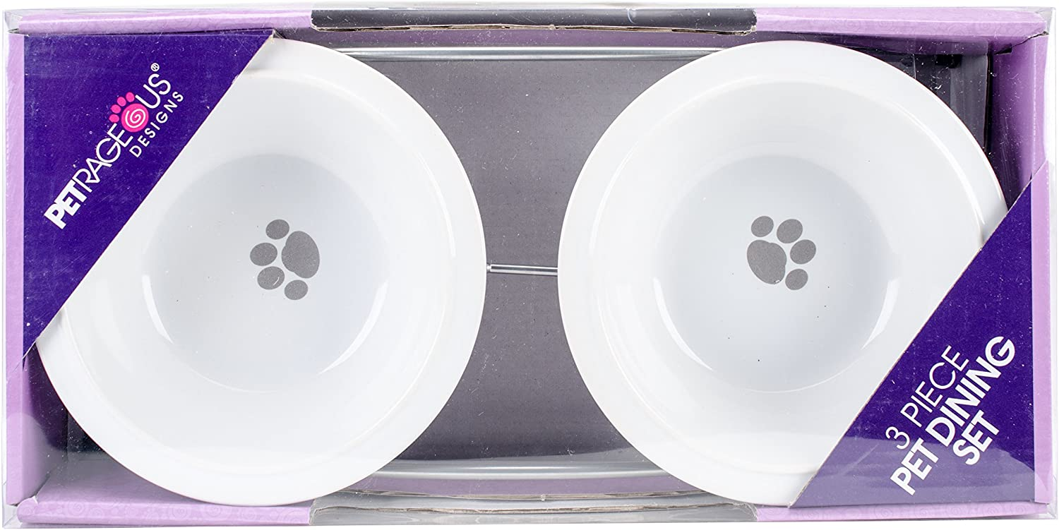 Pet Rageous 14047 Buddy's Best 2 Cups Each Silver Diner with Two White Stoneware Bowls
