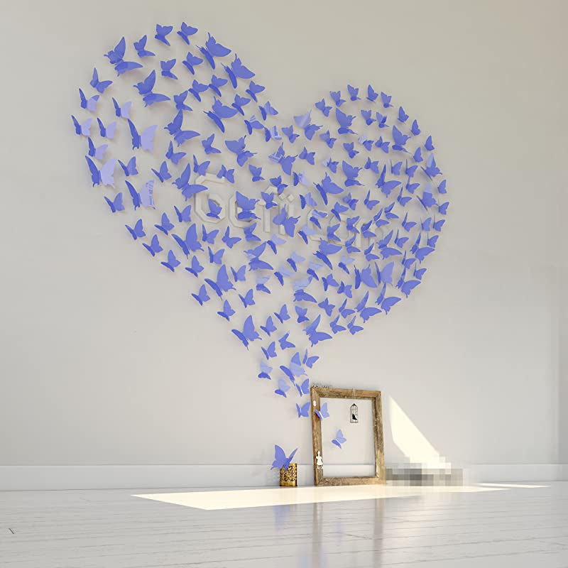 Mariposa Appear In Gossip Girl 12pcs Pack 3D Decorative Butterflies Removable Wall Art Stickers Wedding Decor By Gefii Lavender