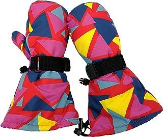 Toddler Kids Boy Girl Waterproof Ski Snow Mittens Winter Warm Cold Weather Gloves - Long Cuff with Drawstring (Trigon, 6-8 Years)