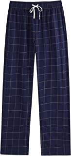 Vulcanodon Mens Cotton Pajama Pants, Lightweight Sleep Pants with Pockets Soft Lounge Pajama Pants for Men Plaid Pj Bottoms