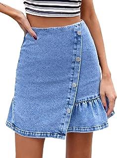 DELIMALI Women's Mini Denim Skirt, High Waist Asymmetrical A-Line Ruffle Short Jean Skirt