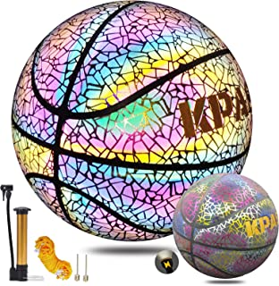 KPASON Basketball Holographic Glow in The Dark Basketball, Indoor-Outdoor Reflective Glow Basketball for Kids or Adults Gift, Official Size 7(29.5