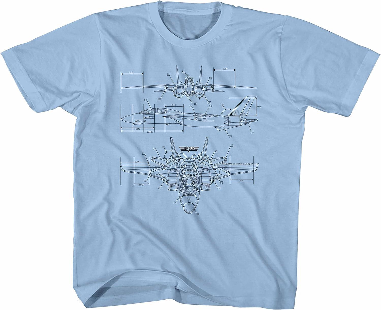 Top Gun 80's Naval Aviator Film VF-1 Blueprints Big Boys Youth T-Shirt Tee